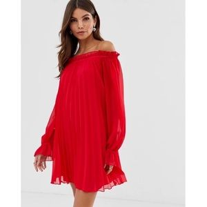 ASOS Red Pleated Trapeze Off the Shoulder Dress 6
